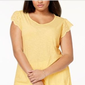 Style & Co Plus Size Flutter Sleeves T-Shirt 2X